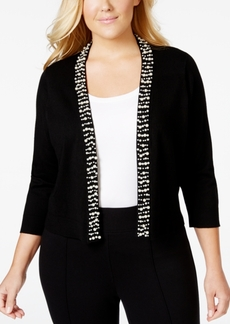 Calvin Klein Plus Size Bead-Trim Knit Shrug
