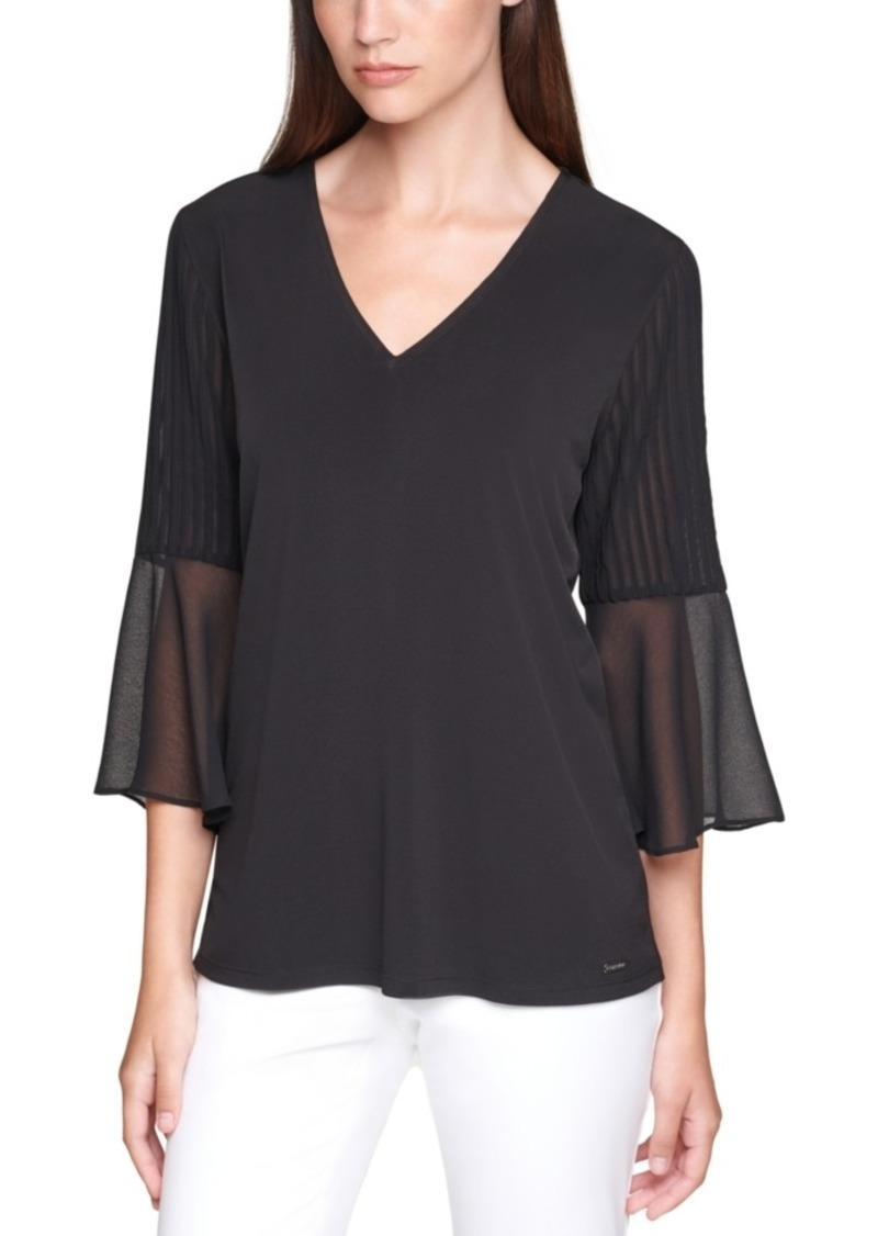 Calvin Klein Plus Size Bell-Sleeve Top