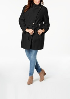 Calvin Klein Plus Size Belted Asymmetrical Coat