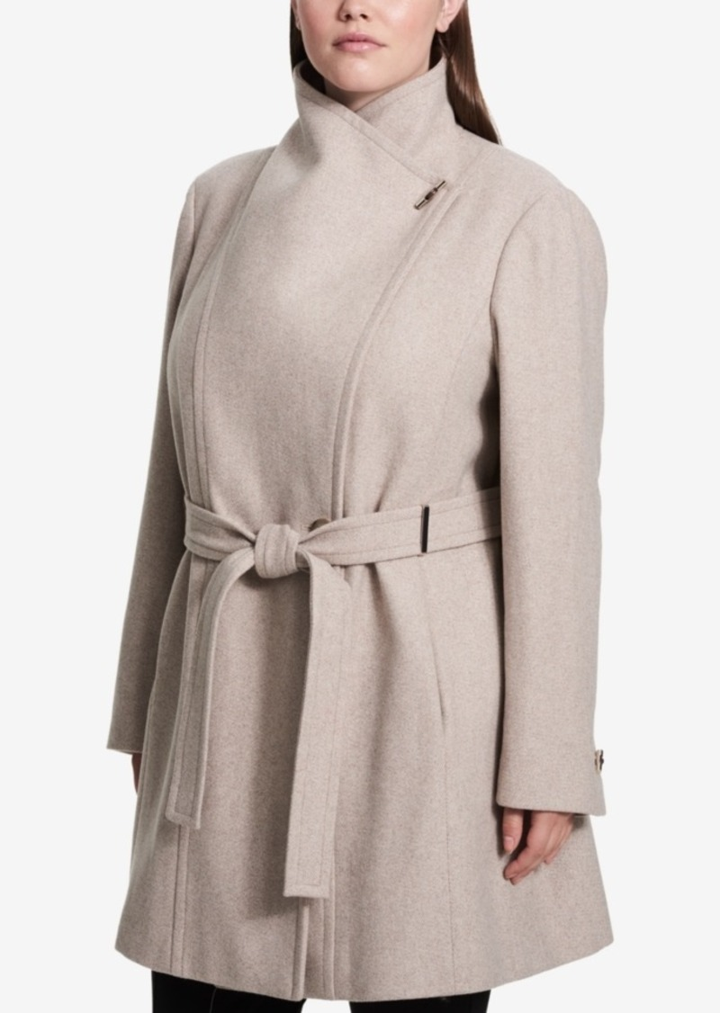 2d6b464edbb Calvin Klein Calvin Klein Plus Size Belted Asymmetrical Walker Coat ...