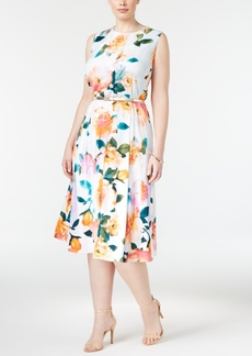 Calvin Klein Plus Size Belted Floral-Print Midi Dress