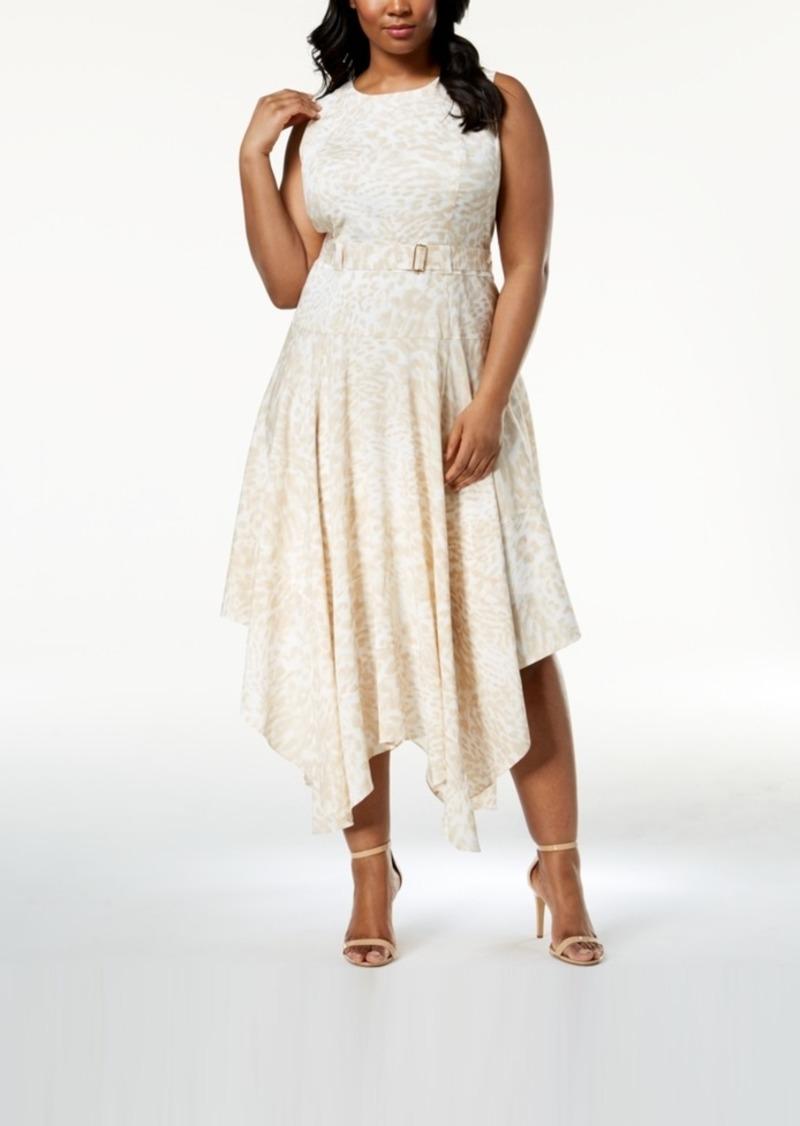 Calvin Klein Calvin Klein Plus Size Belted Handkerchief Hem Dress