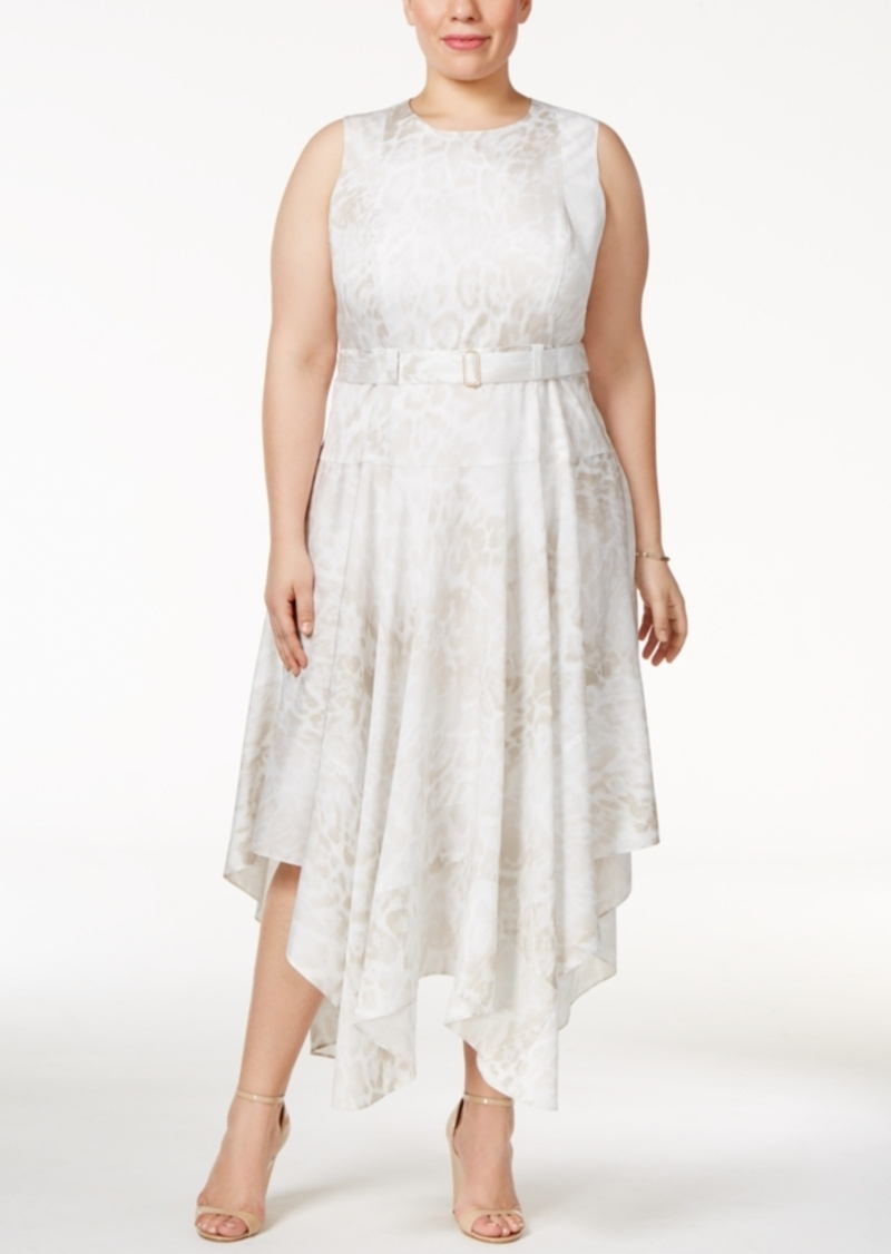 Calvin Klein Calvin Klein Plus Size Belted Handkerchief-Hem Dress ...