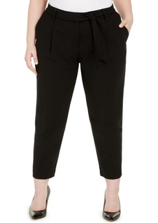 Calvin Klein Plus Size Belted Straight-Leg Pants