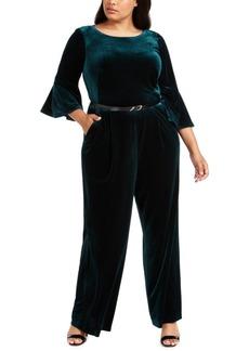 Calvin Klein Plus Size Belted Velvet Jumpsuit