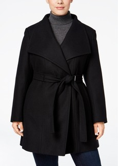 Calvin Klein Plus Size Hardware-Trim Asymmetrical Walker Coat