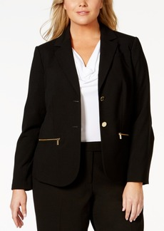 Calvin Klein Plus Size Button-Front Zip-Pocket Jacket
