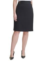 Calvin Klein Plus Size Button-Trim Pencil Skirt
