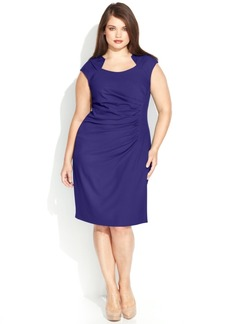 Calvin Klein Plus Size Cap-Sleeve Cutout-Neckline Sheath