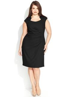 Calvin Klein Plus Size Cap-Sleeve Cutout-Neckline Sheath