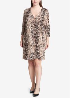 Calvin Klein Plus Size Cat-Print Wrap Dress