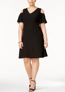 Calvin Klein Plus Size Cold-Shoulder Fit & Flare Dress