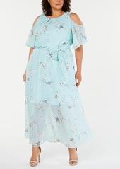 Calvin Klein Plus Size Cold-Shoulder Floral Maxi Dress