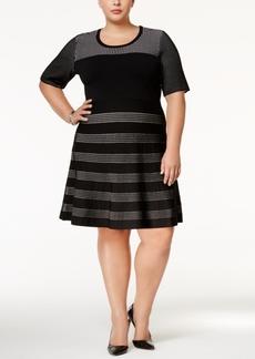 Calvin Klein Plus Size Colorblocked Fit & Flare Dress
