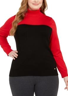 Calvin Klein Plus Size Colorblocked Turtleneck Sweater