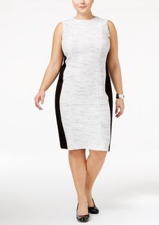 Calvin Klein Plus Size Colorblocked Tweed Sheath Dress
