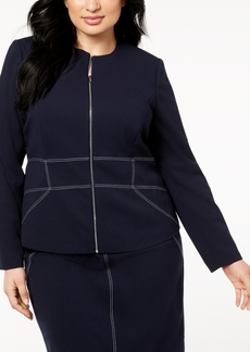 Calvin Klein Plus Size Contrast-Stitched Zip-Up Blazer