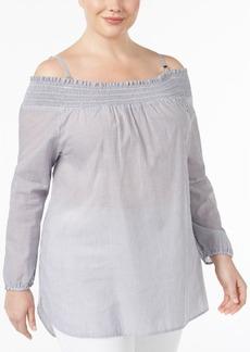 Calvin Klein Plus Size Cotton Off-The-Shoulder Tunic