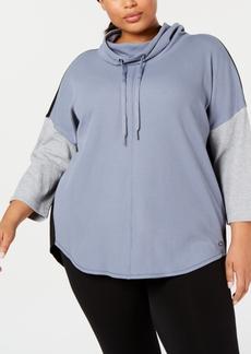 Calvin Klein Plus Size Cowlneck Colorblocked Top