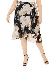 Calvin Klein Plus Size Crossover Ruffled Skirt