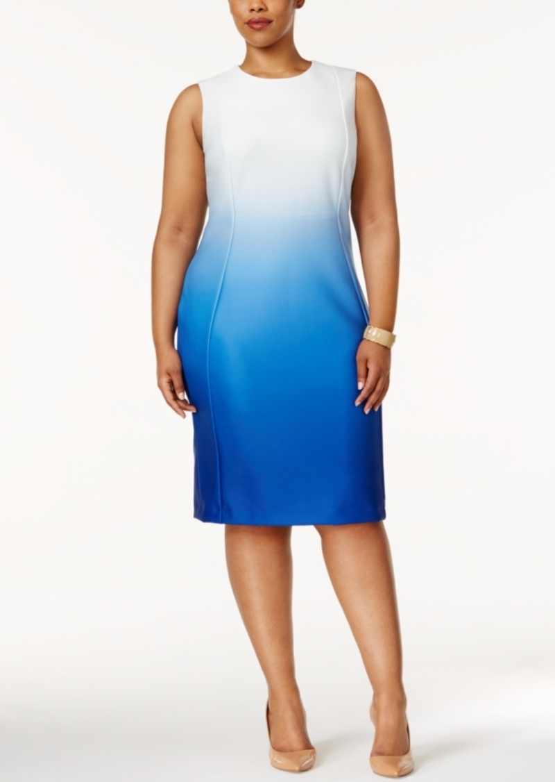 2edcb50cd2 SALE! Calvin Klein Calvin Klein Plus Size Dip-Dyed Scuba Sheath Dress