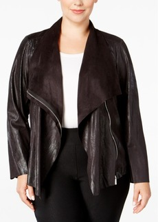 Calvin Klein Plus Size Distressed Flyaway Jacket