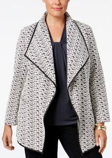 Calvin Klein Plus Size Draped Houndstooth Jacket