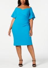 Calvin Klein Plus Size Draped Off-The-Shoulder Dress