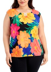 Calvin Klein Plus Size Embellished Floral-Print Top