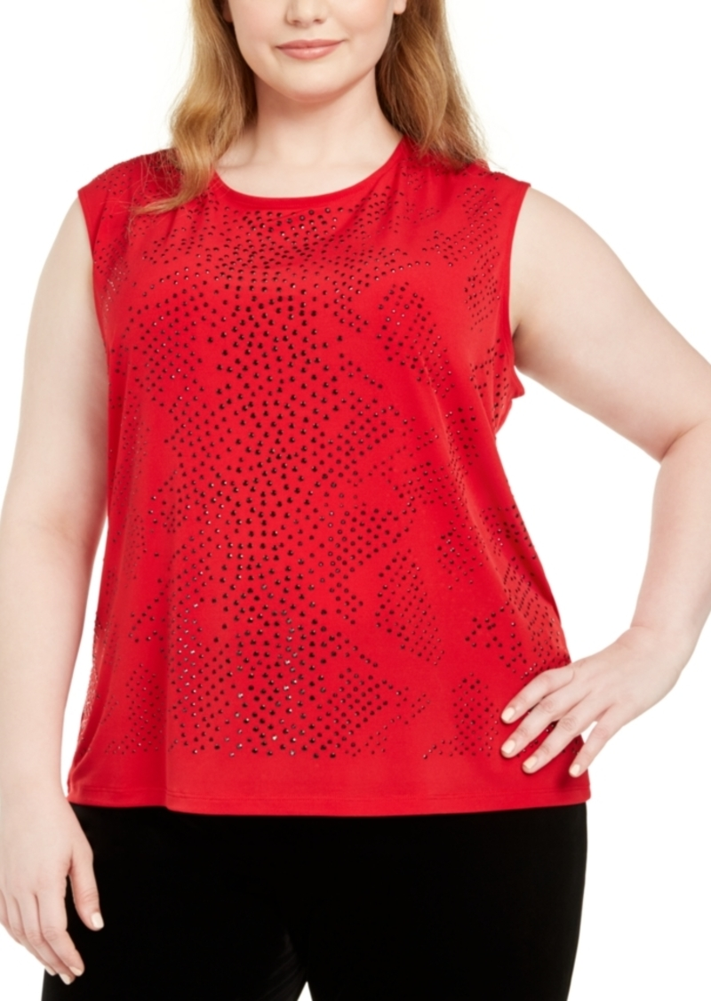 Calvin Klein Plus Size Embellished-Front Top