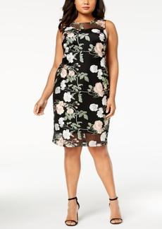 Calvin Klein Plus Size Embroidered Mesh Sheath Dress