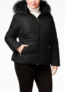 Calvin Klein Plus Size Faux-Fur-Trim Down Puffer Coat