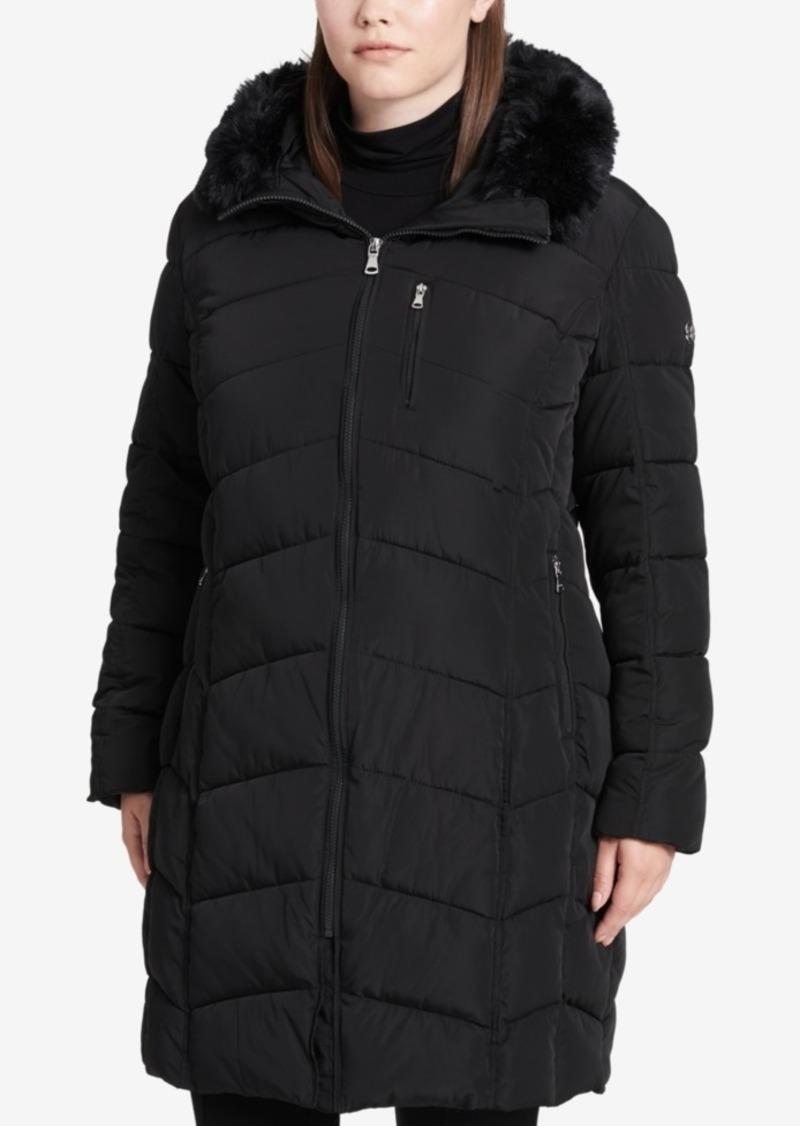 72bc5e8a64c Calvin Klein Calvin Klein Plus Size Faux-Fur-Trim Hooded Puffer Coat ...