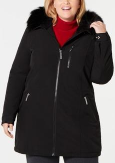 Calvin Klein Plus Size Faux-Fur-Trim Hooded Raincoat
