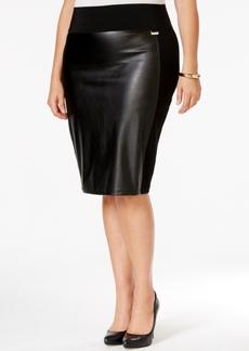 Calvin Klein Plus Size Faux-Leather-Front Pencil Skirt