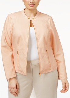 Calvin Klein Plus Size Faux-Leather Jacket