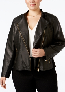 Calvin Klein Plus Size Faux-Leather Moto Jacket