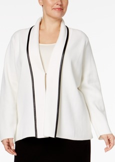 Calvin Klein Plus Size Faux-Leather-Trim Cardigan Jacket