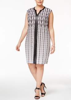 Calvin Klein Plus Size Faux-Leather-Trim Sheath Dress