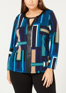 Calvin Klein Plus Size Faux-Leather-Trim Top