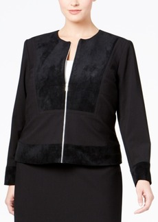 Calvin Klein Plus Size Faux-Suede Mixed-Media Jacket