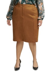 Calvin Klein Plus Size Faux-Suede Pencil Skirt