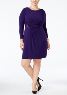 Calvin Klein Plus Size Faux-Wrap Buckle Dress