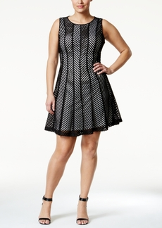 Calvin Klein Plus Size Fit-and-Flare Mesh Cage Dress