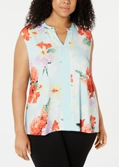 Calvin Klein Plus Size Floral-Print Chain-Embellished Top