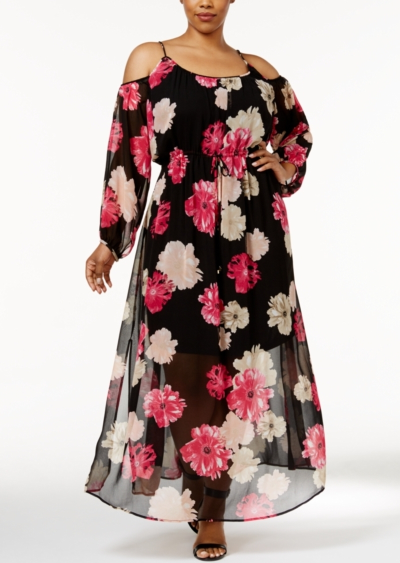 Plus Size Floral Print Cold Shoulder Maxi Dress