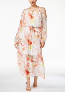 Calvin Klein Plus Size Floral-Print Cold-Shoulder Maxi Dress