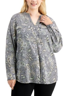 Calvin Klein Plus Size Floral-Print Roll-Sleeve Top