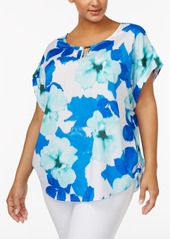 Calvin Klein Plus Size Floral-Print Roll-Tab Blouse