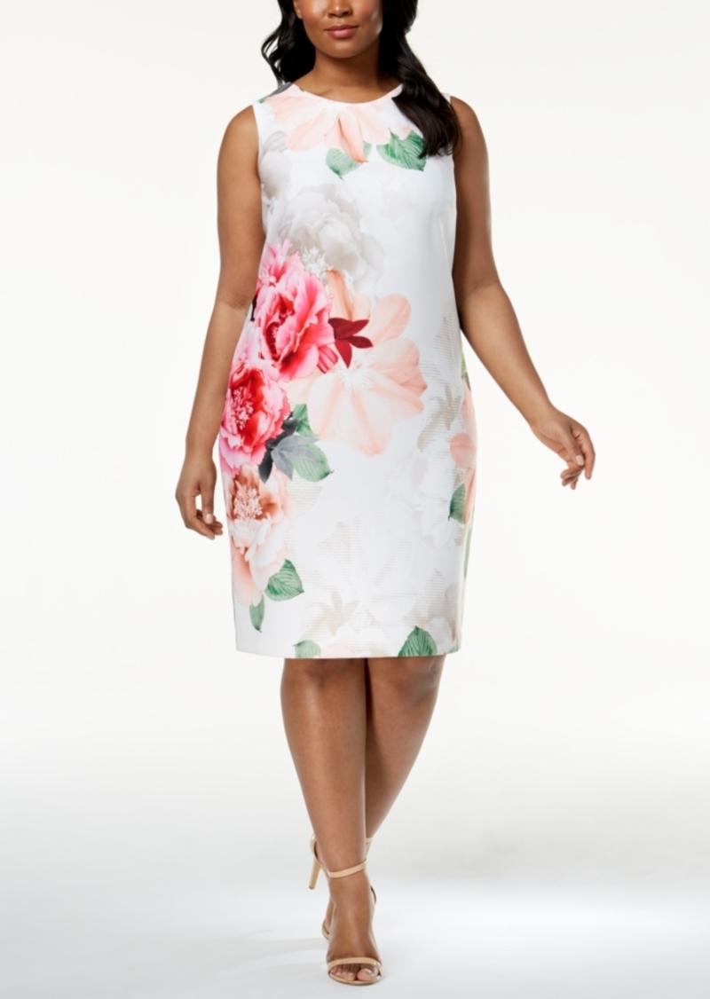 Plus Size Floral-Print Scuba Dress